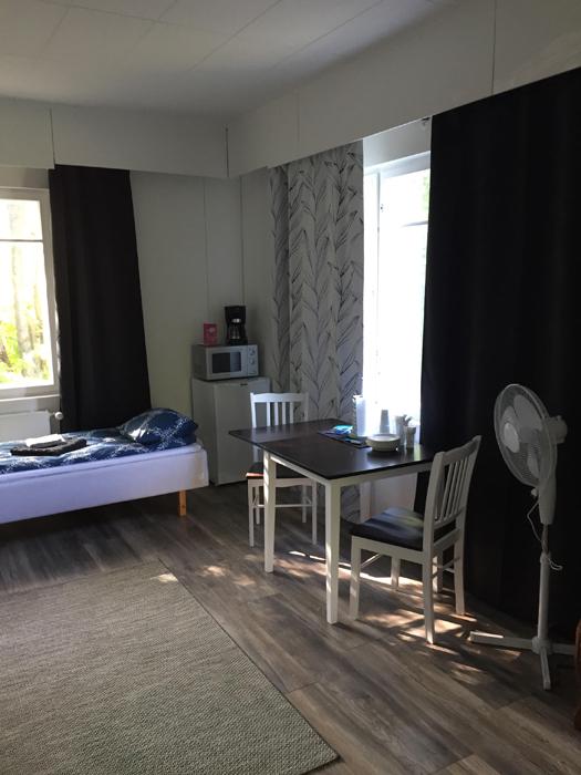 Hostelli Rantapappilan huoneissa on jääkaappi, mikro ja kahvinkeitin.