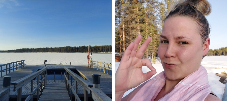 Hostellireissaaja Marianne Nuoriso- ja luontomatkailukeskus Oivangissa. Avantouinti.